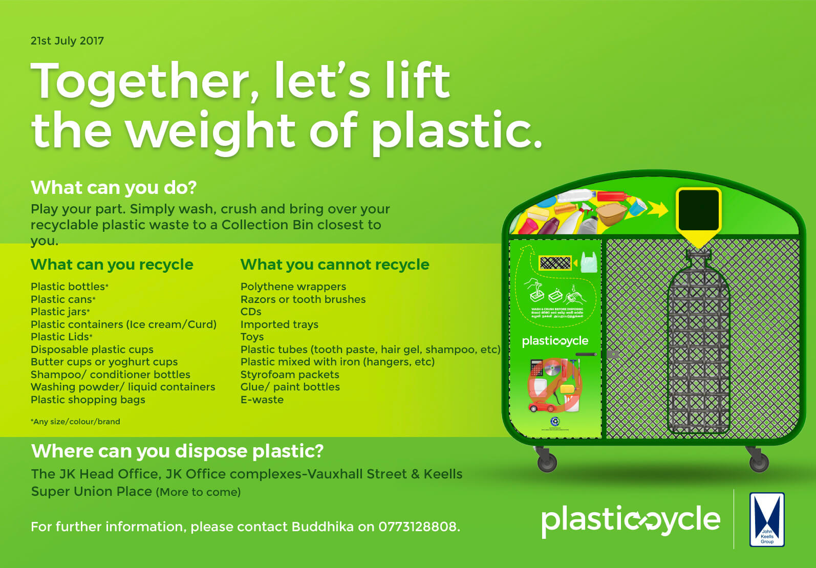 Plastic-cycle! We've launched a pilot-project in Colombo 02 (Wekanda/Hunupitiya CMC wards)